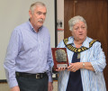 Ian Wright, co-ordinator of the Rally of the Tall Pines, presents Mayor Bernice Jenkins with a plaque of appreciation for Bancroft's partnership. TONY PEARSON Special to This Week